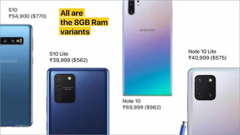 Samsung Galaxy S10 Lite and Note 10 Lite 8GB Variants