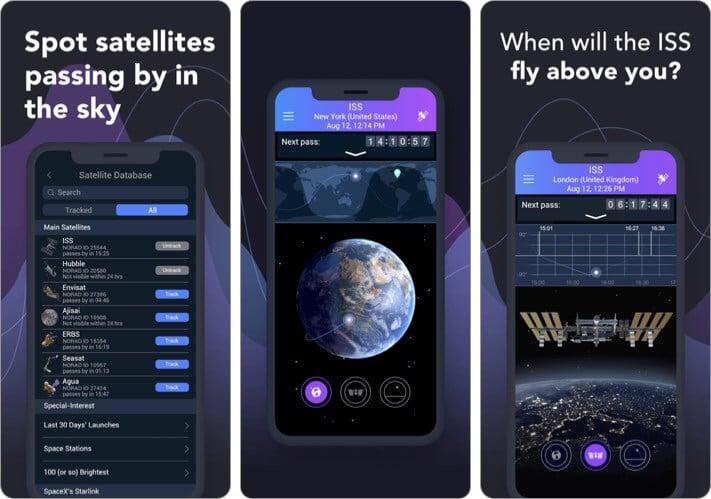 Satellite Tracker by Star Walk astrophotography iPhone app screenshot