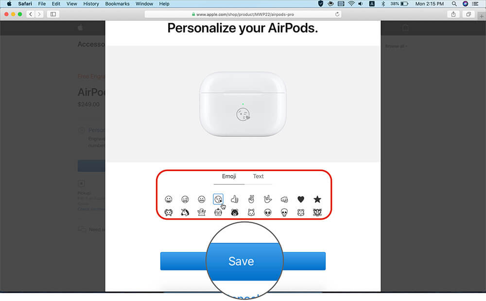 Save Emoji or Text to Engrave it on AirPods Charging Case