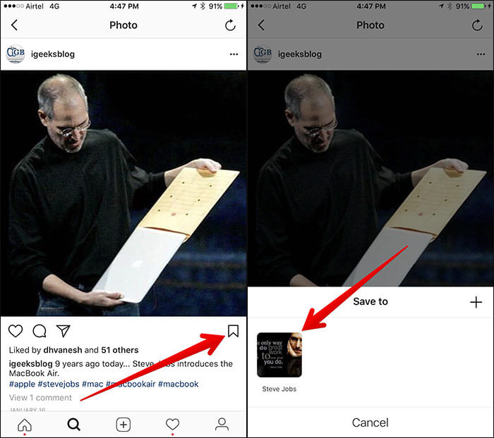 Save Instagram Post to Collection on iPhone