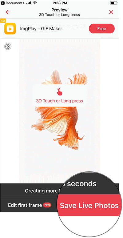 Save Live Fish Wallpaper in iOS 11 on iPhone