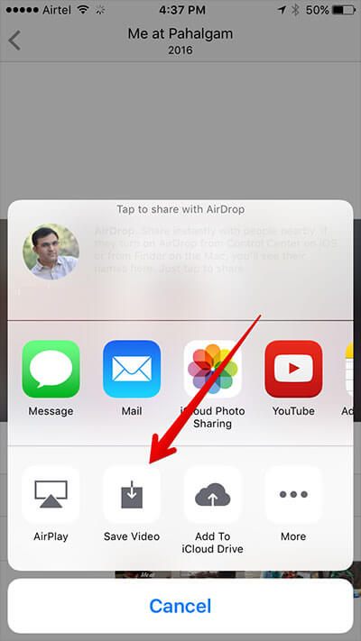 Save Memory Slideshow to iPhone Camera Roll