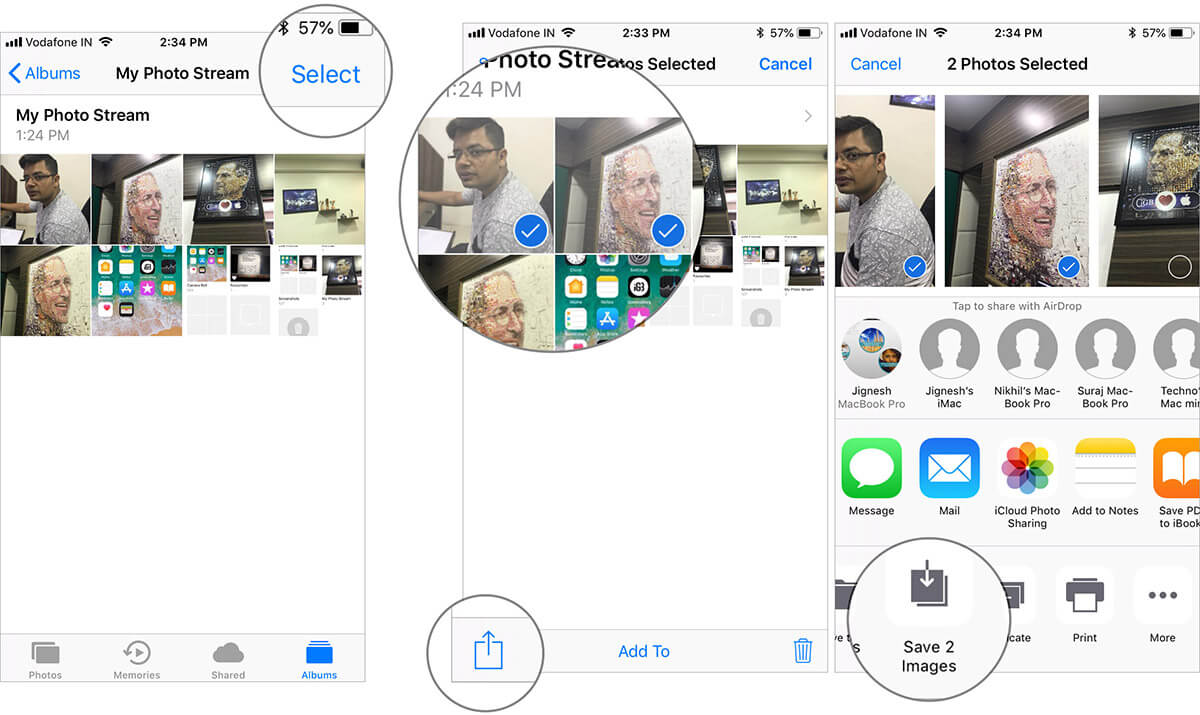 Save My Photo Stream images in iCloud from iPhone Photos App manually