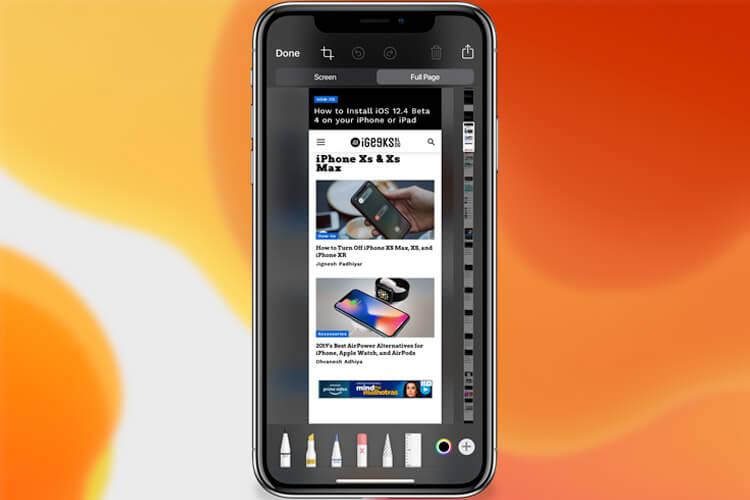 Save Safari Screenshots As Full Page in iOS 13