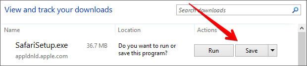Save Safari Setup on Windows PC