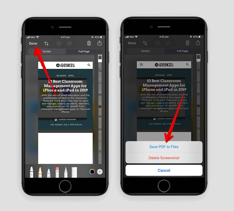Save Web Page as a PDF in Safari in iOS 13