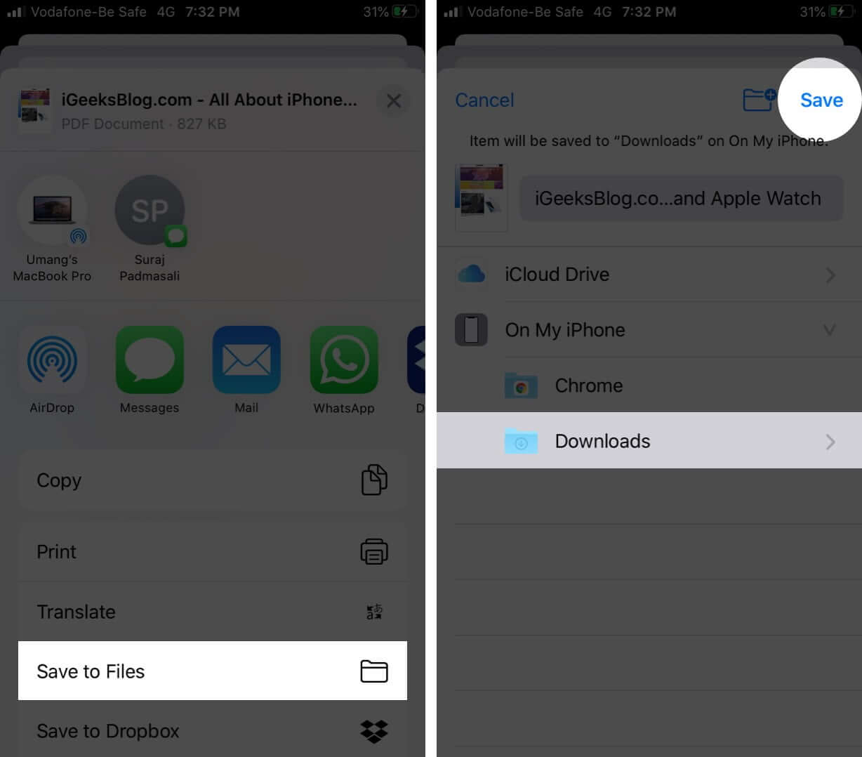 Save Webpage as PDF from Share Sheet on iPhone