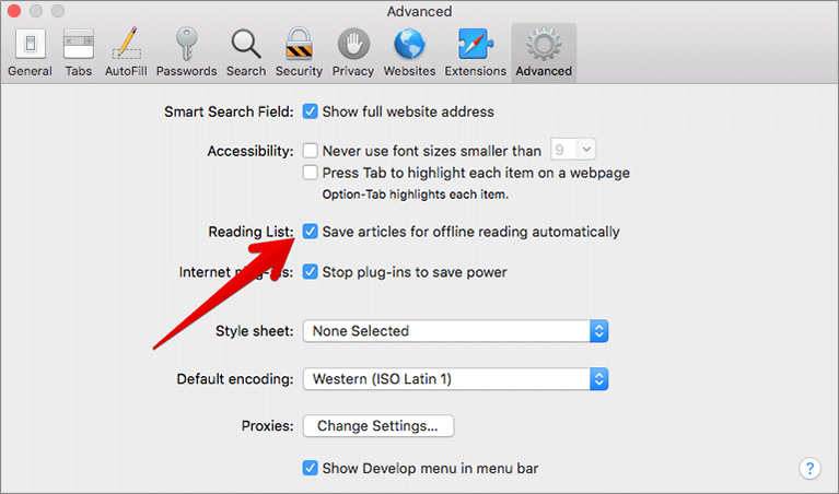 Save articles for offline reading automatically in Safari on Mac