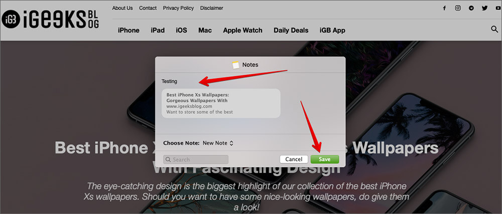 Save files to Notes from Other Apps on Mac