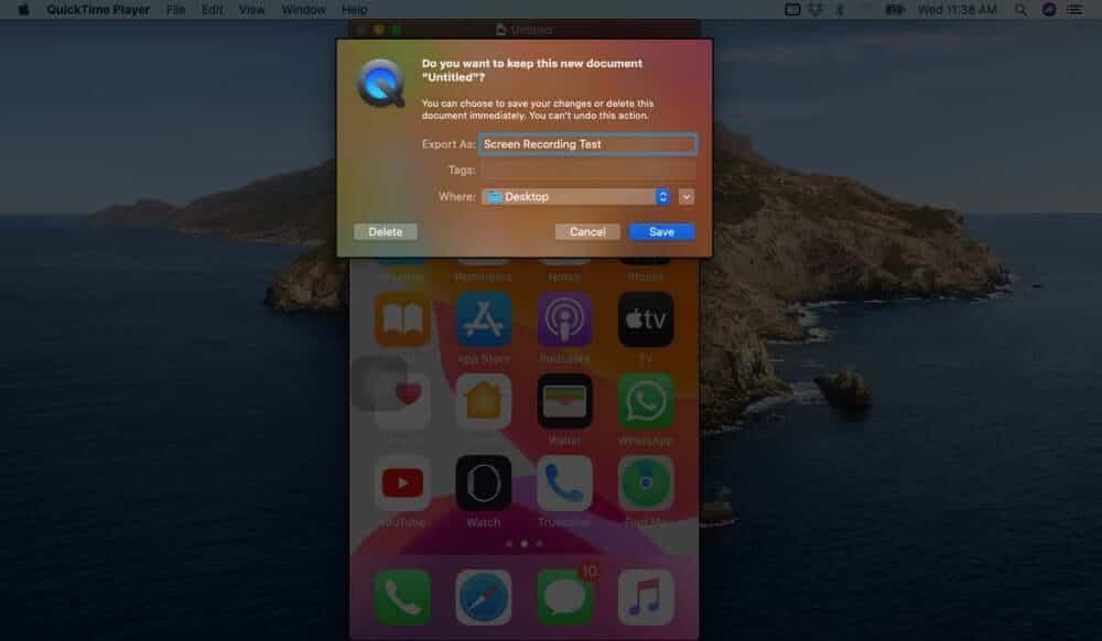 Save iPhone Screen Recording on Mac