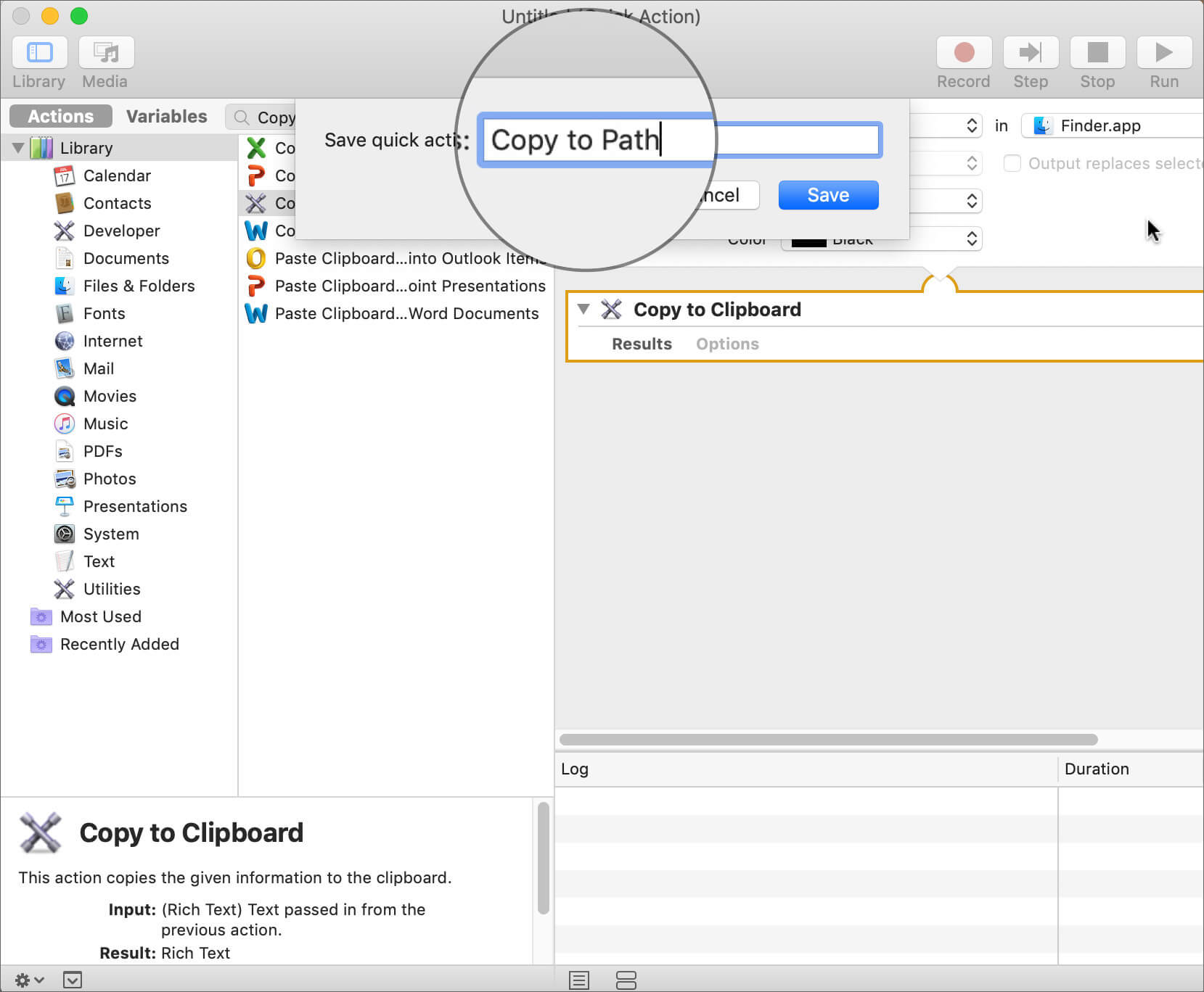 Save the Settings as a Copy to Path in Mac Automator App
