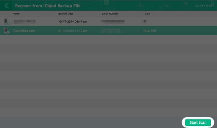 Scan iCloud for Data