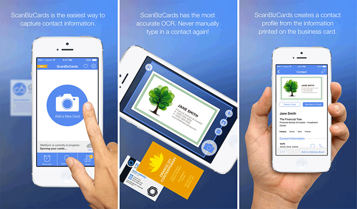 ScanBizCards Business Card Readers and Scanners iPhone App Screenshot