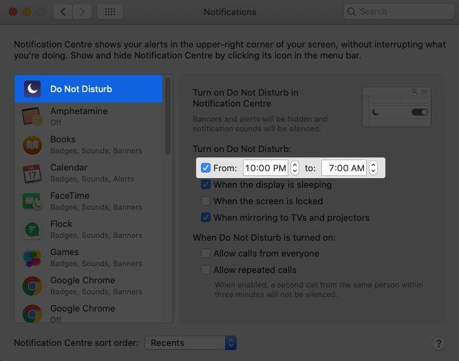 Schedule Do Not Disturb on Mac