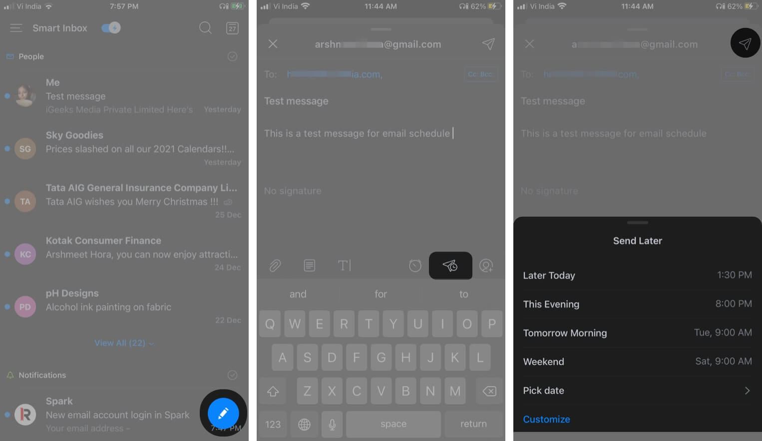 Schedule emails on iPhone and iPad via Spark app