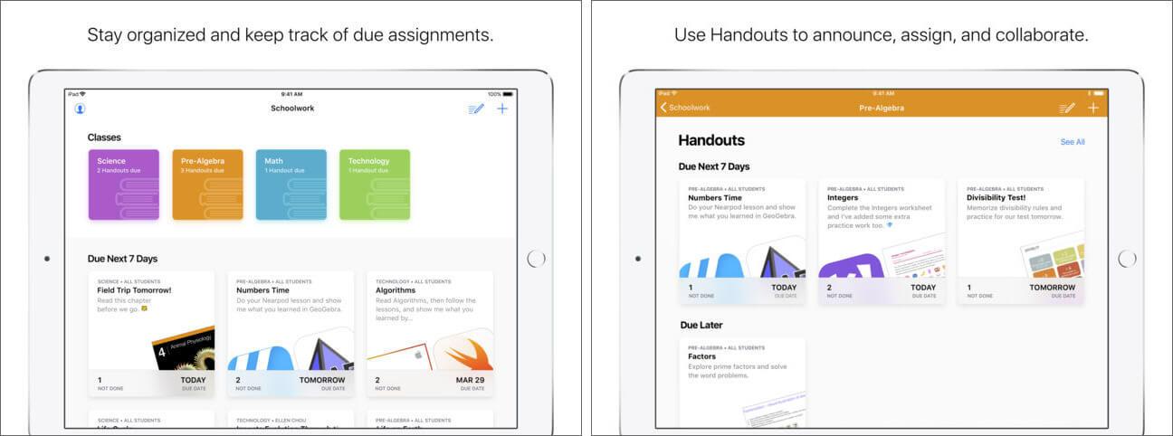 Schoolwork iPhone and iPad Teachers App Screenshot