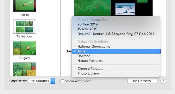 Screen Saver Dropdown Menu in Mac
