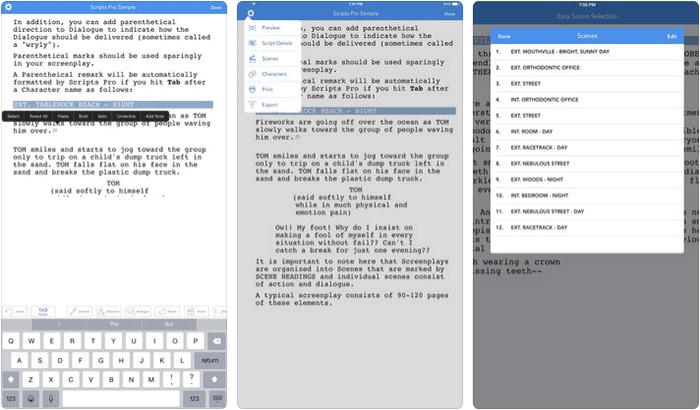 Scripts Pro iPhone and iPad App Screenshot