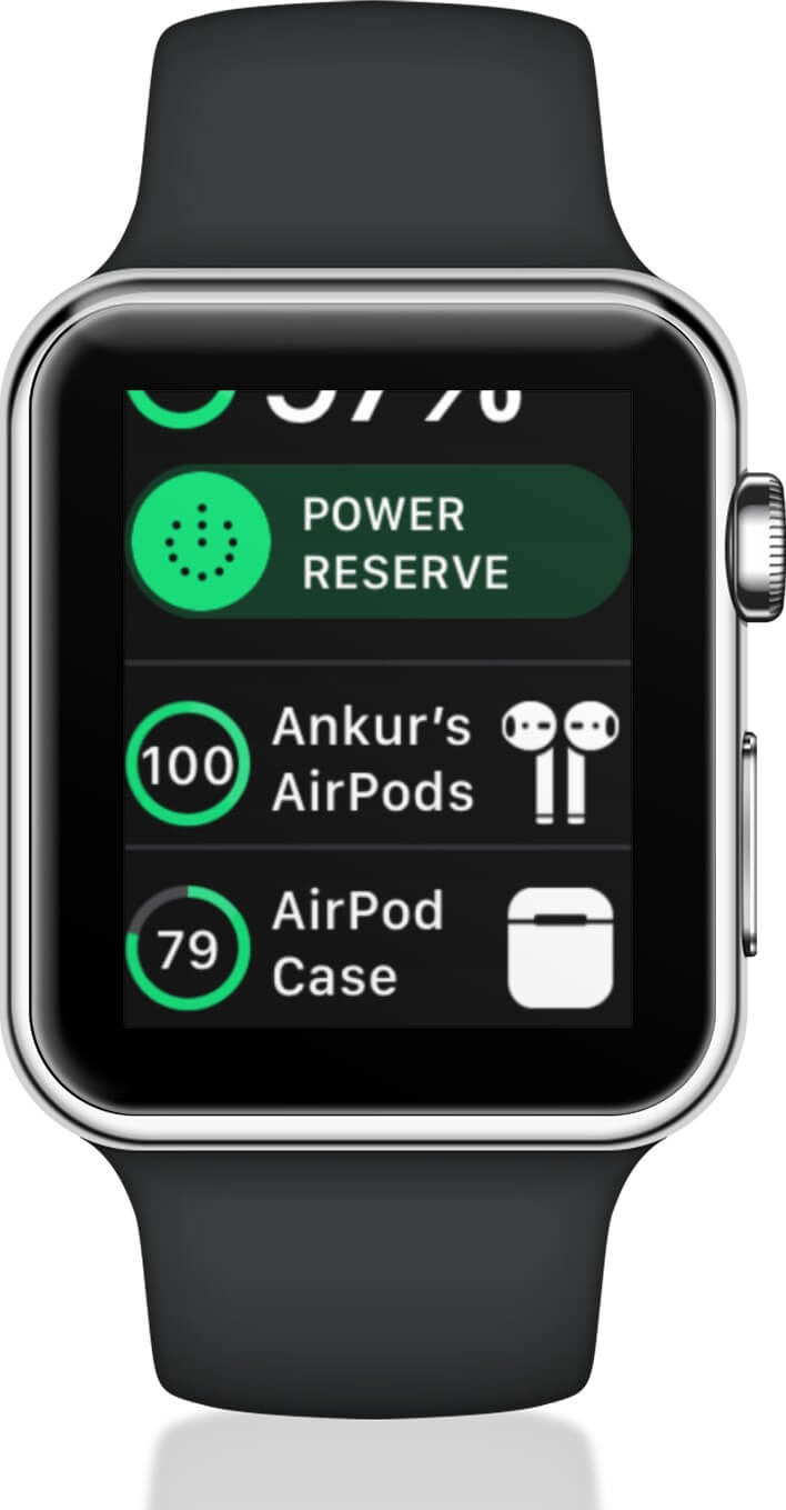 Scroll Down to Check Battery Life of AirPods and Charging Case on Apple Watch