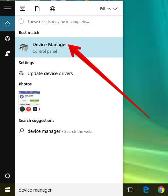Search Device Manager on Windows PC