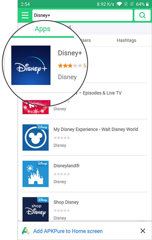 Search Disney+ App on Android Phone