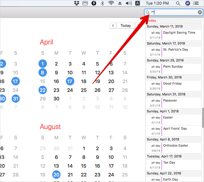Search Events in Calendar by Two Concurrent Quotations on Mac