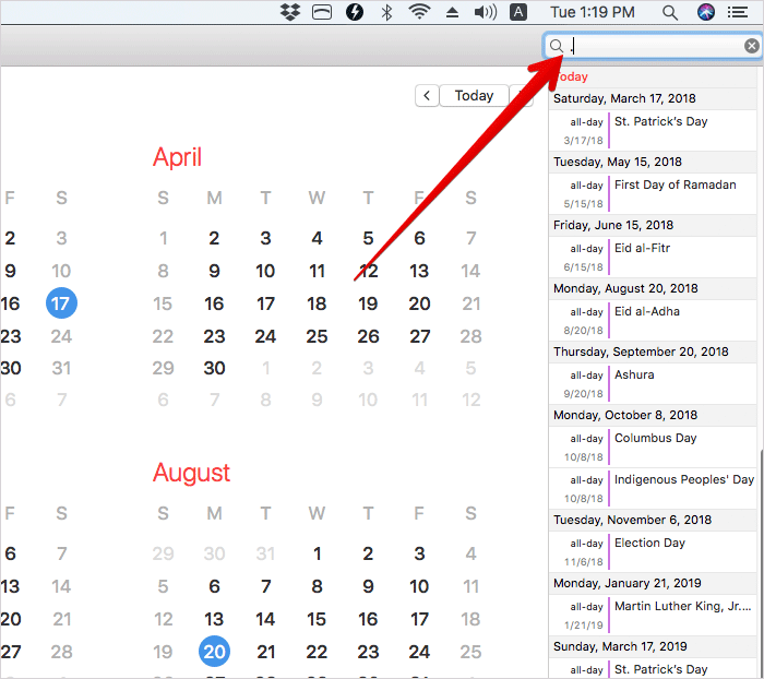 Search Events in Calendar with Full Stop on Mac