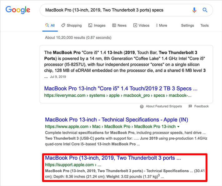 Search MacOS Catalina Version in Google Search Box