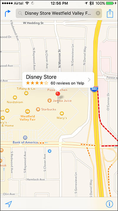 Search Store on Apple Map on iPhone