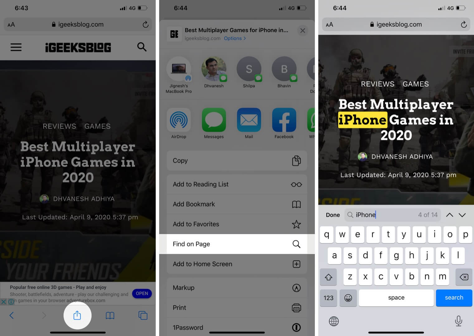 Search Text Phrase in Webpage in Safari on iPhone or iPad