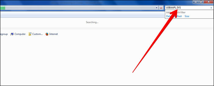 Search USBAAPL Sys File on Windows PC