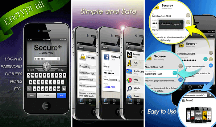 Secure+ Password Manager iPhone and iPad App Screenshot