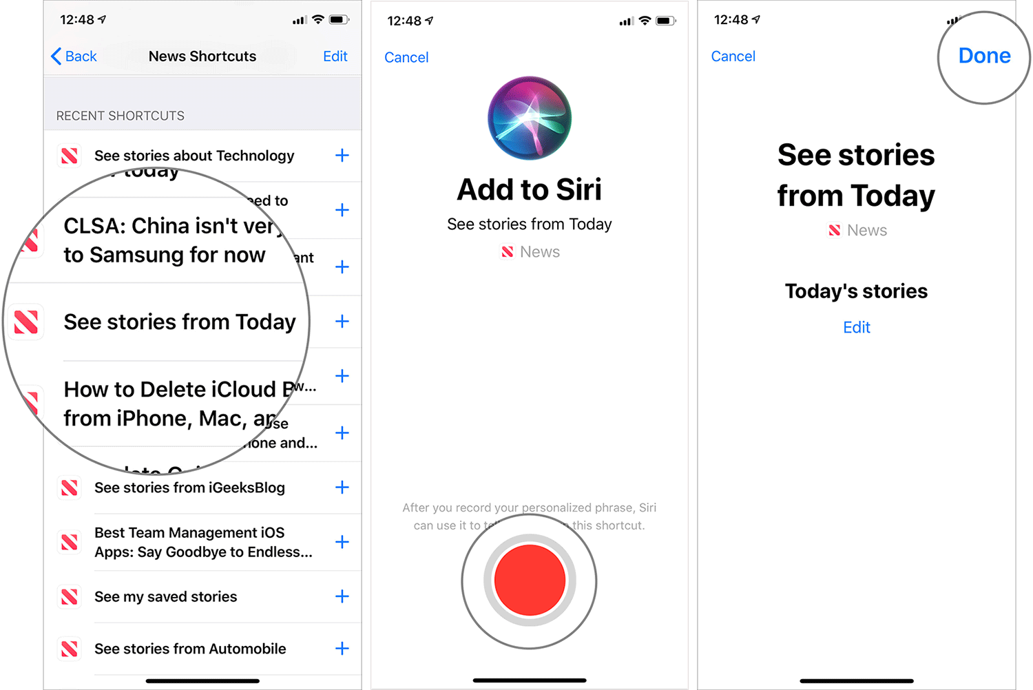 See Stories from Today in Apple News Using Siri Shortcuts