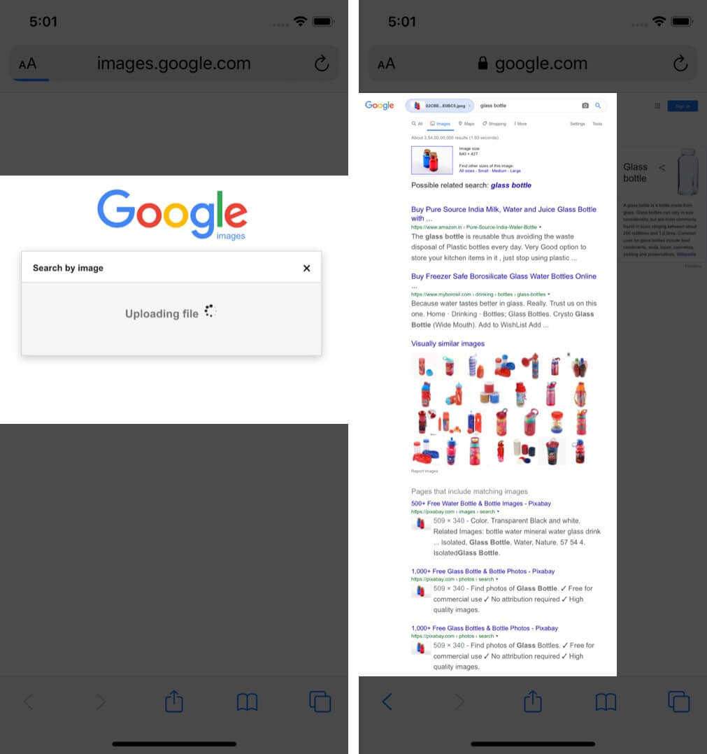 See the Reverse Image Result on Google in Safari Browser
