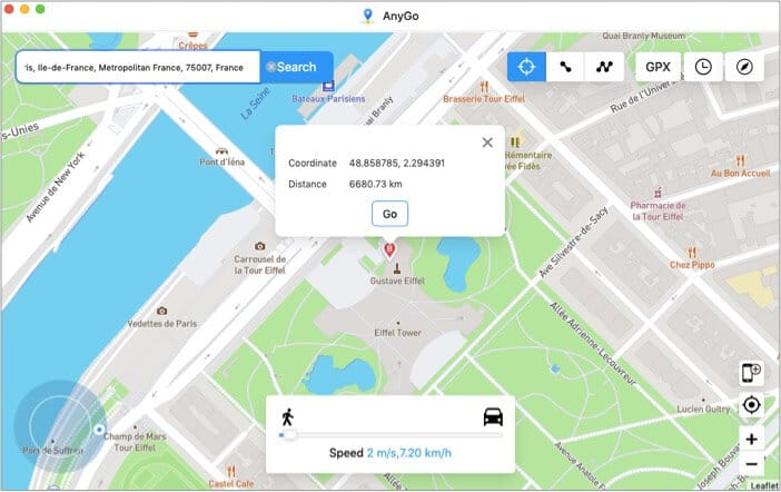See the coordinates and distance of the location in iToolab app for Mac