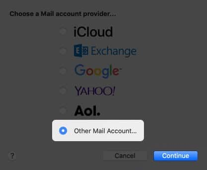 Select Account Type and Click on Continue on Mac