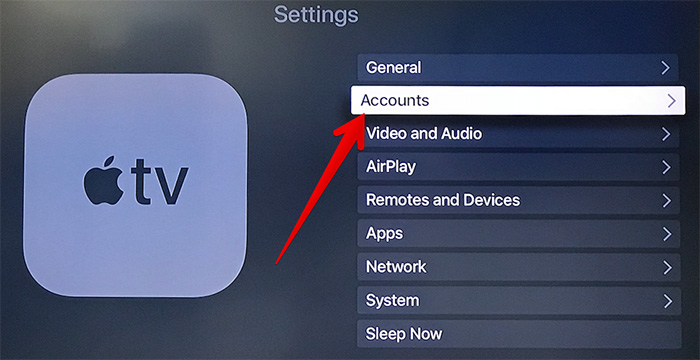 Select Accounts in Apple TV Settings