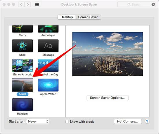 Select Aerial Screen Saver in Mac Preferences