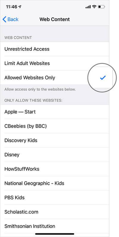 Select Allowed Websites