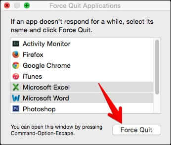 Select Apps and Click Force Quit on Mac