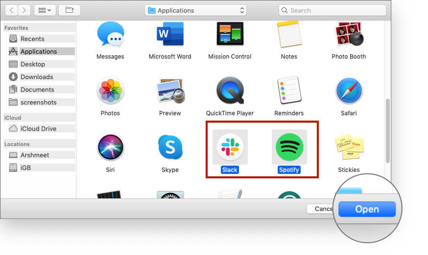 Select Apps on Click Open Button on Mac