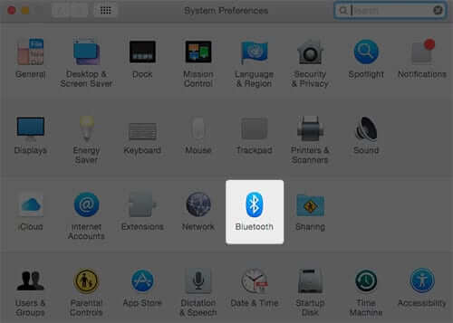 Select Bluetooth From System Preferences on Mac