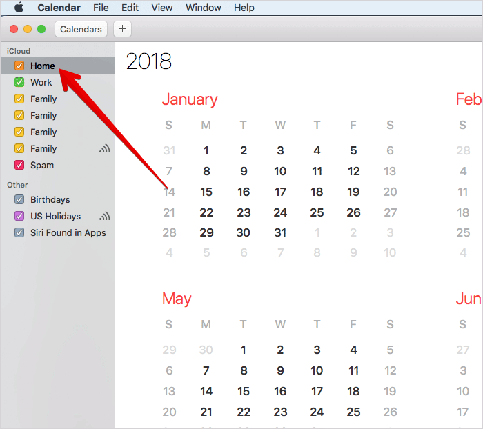 Select Calendar in Mac Calendar App