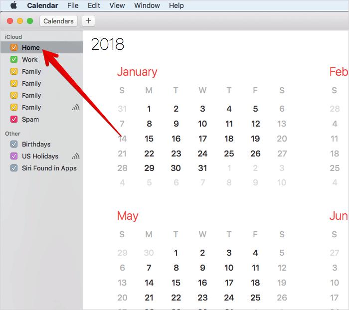 Select Calendar in Mac Calendar App