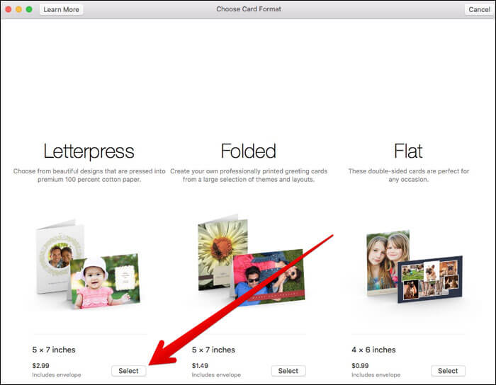 Select Card Format in Photos App on Mac