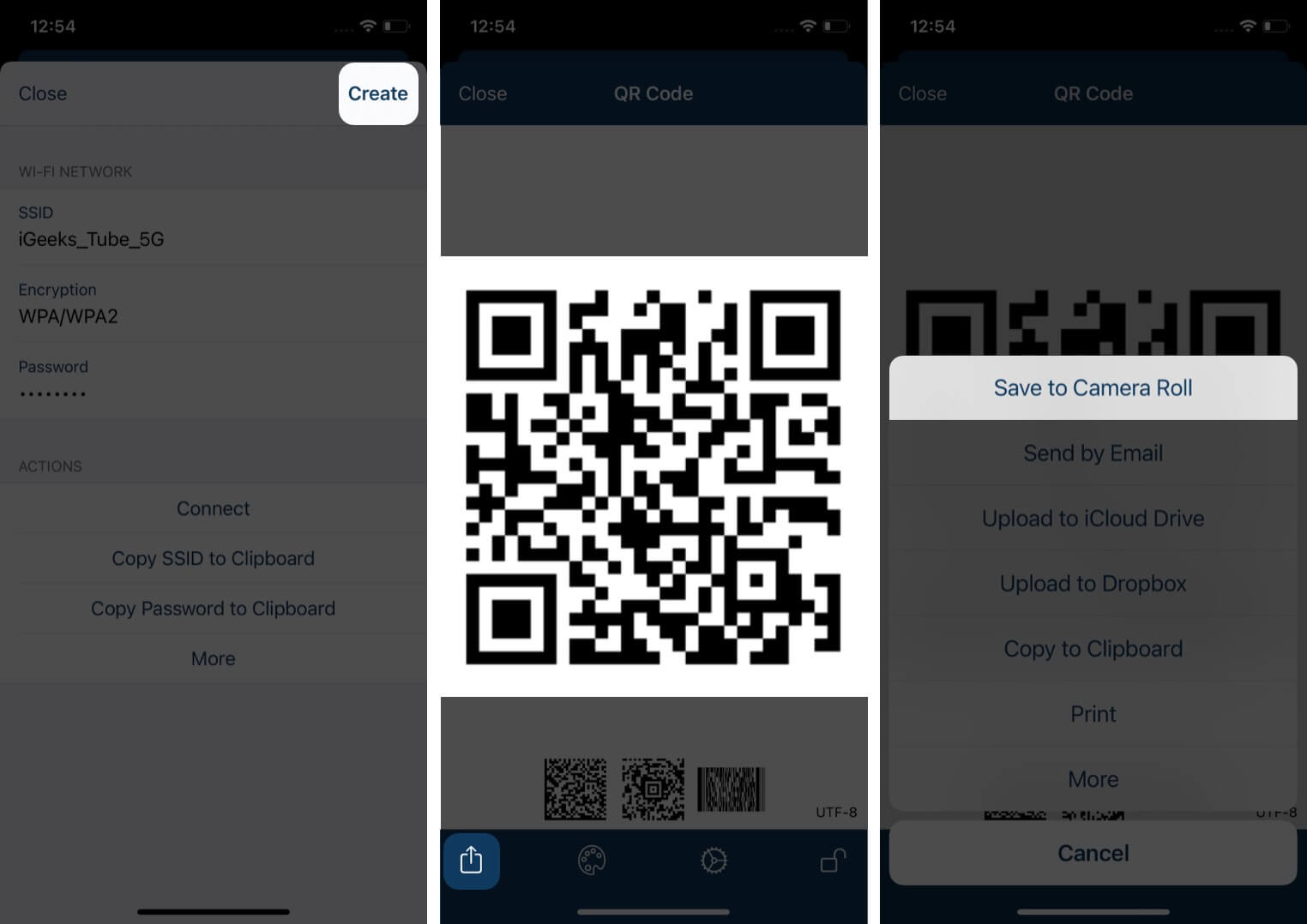 Select Create and your Wi-Fi QR code should be ready to share on Android
