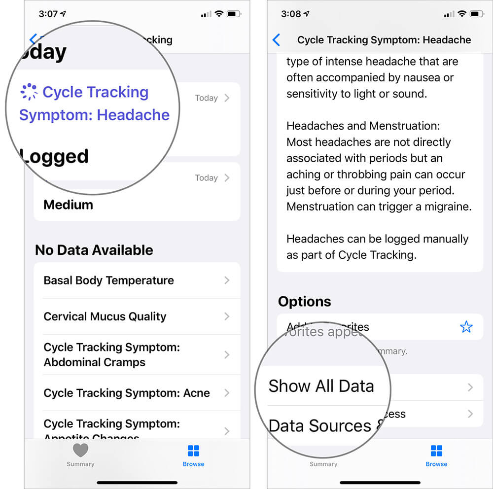 Select Cycle Tracking Symptoms and Tap on Show All Data in iOS Health App
