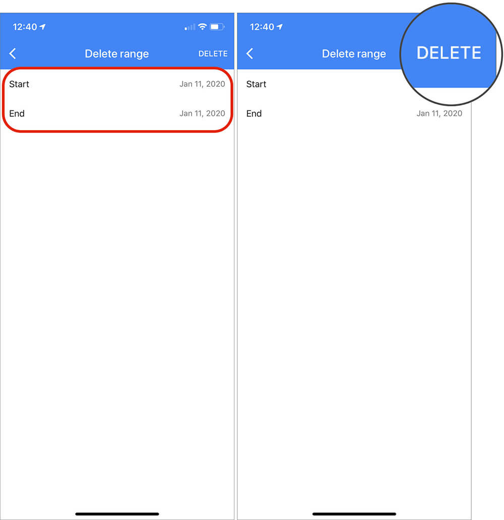 Select Date to Tap on Delete in iOS Google Maps