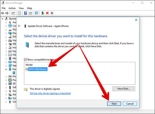 Select Device and Click on Next in Windows PC
