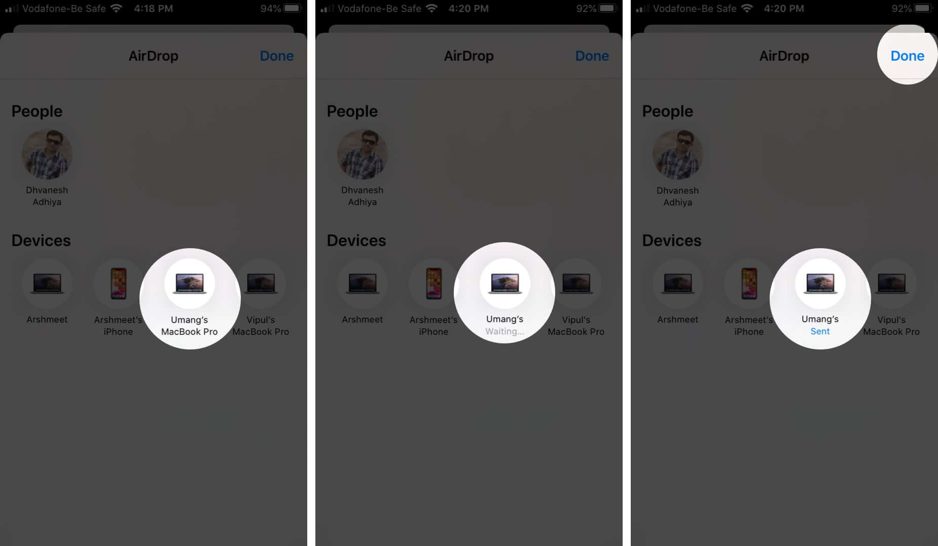 Select Device and Tap on Done to Share Files Using AirDrop on iPhone